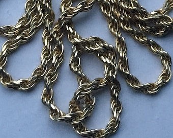 Vintage 925 sterling Silver Gold Plate Rope link chain Necklace 5.8g 2mm 18 1/2 inches