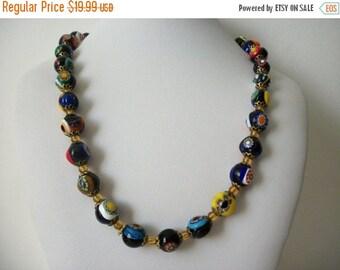 ON SALE Vintage 1950s Venetian Glass Necklace 1393