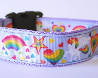 Adjustable Dog collar, puppy collar, lilac unicorn collar, quick release buckled dog collar comes in 5 sizes!