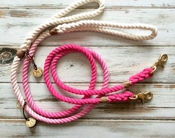 Hand Dyed Traditional Dog Leash, Cotton Rope Dog Leash, Standard Dog Leash