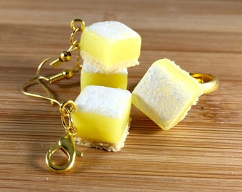 Polymer clay lemon squares jewelry set and keyring