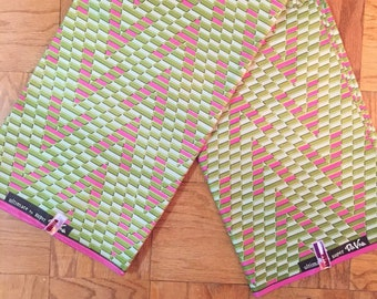Green  and Pink African Fabric