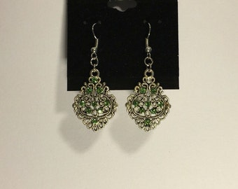 Silver and Green Charm Earrings