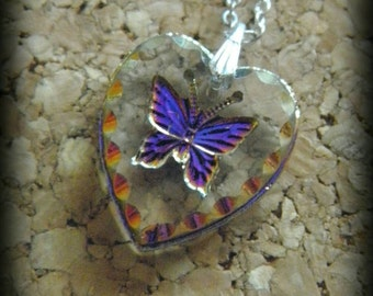 Glass necklace with butterfly