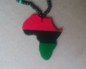 RBG red black and green Africa beaded necklace