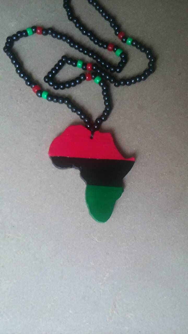 Rbg red black and green africa beaded necklace for Red black and green jewelry