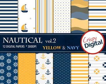 Nautical Digital Paper Printable Yellow and Navy Blue 12pcs 300dpi Digital Download Sailing Collage Sheets Scrapbooking