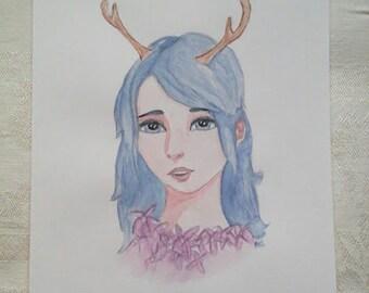 Watercolor Painting-Fantasy Antler Girl