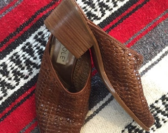 Brown Leather Weaved Mules