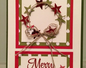 Handmade Christmas Card Wreath using Stampin' Up Products