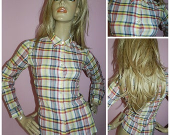 Vintage ORIGINAL 1960s Yellow/Red TARTAN Check MOD shirt blouse 10-12 60s Fitted Sharp collar