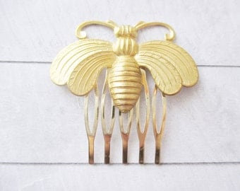 Large gold bee hair comb Bumblebee HoneybeeHair Accessories Woodland Nature Wedding Raw Brass Honeybee Hair Clip Bridesmaids Bridal Gift