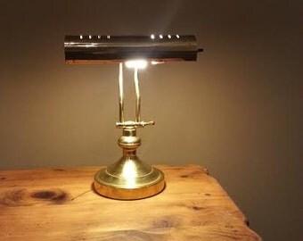 Brass Desk Lamp - Adjustable Table Lamp - Vintage Desk Lamp - Study Lamp - Bankers Lamp - Solid Brass Bankers Lamp - Library Lamp