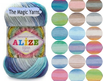 Alize Miss batik Mercerized cotton yarn,summer crochet yarn,crochet thread- lace weight,lace,super fine,size 10,crochet doily