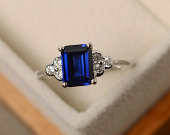Sapphire ring, emerald cut ring, blue sapphire ring, silver 925, blue ring, promise ring for her