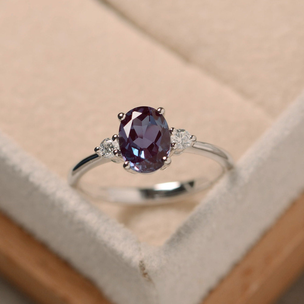 Oval alexandrite ring silver alexandrite jewelry gemstone