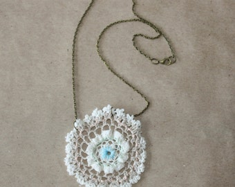 Reclaimed Doily Necklace - Pale Pink, Mint Green, and Light Blue