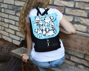 Blue and Black Mini Backpack, Waterproof Backpack, Macbook Bag, Boho Festival Backpack, Women's Rucksack, City Backpack, Made To Order