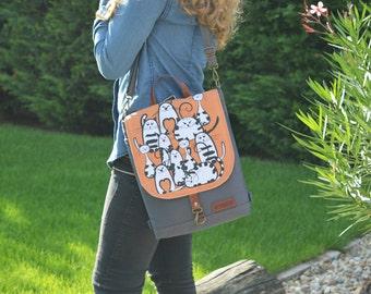 "Mini Canvas Backpack, Waterproof backpack, 11"" Laptop Backpack, Boho Festival Backpack, Women's Rucksack, City Backpack, Made To Order"