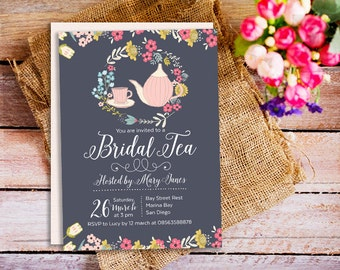Bridal Tea Party Invite, Navy Blue Bridal Shower Invitation, Afternoon Tea Party Invitation, Mothers Day Tea Party, Tea Party Invitations