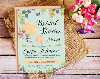bridal shower tea party invitation, garden party invitation, Mothers Day Tea Party Invite, brunch and tea invitation, Vintage Garden Party