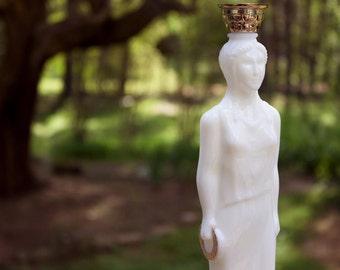 Milk Glass Avon Greek Goddess Bottle