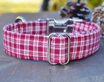 Noah. Unisex Dog Collar, Burgundy, Plaid, Boy, Girl, Metal Hardware, Martingale Collar, Handmade Collar