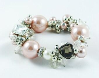 Bracelet Pink Pearl Bracelet Bridal Bracelet  Bridal Jewelry  Stretch Bracelet  Chunky Bracelet  Bridesmaids  Silver Jewelry  Holiday Gift