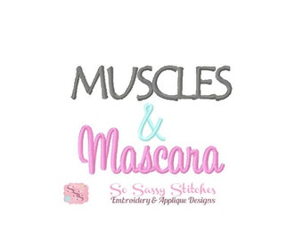 Muscles and Mascara embroidery design, workout embroidery design, fitness embroidery design