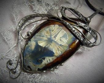 Porcelain Handmade Pendant made with Tiffany technique,  pendant