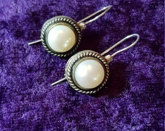 Pearl and Sterling silver Dropbox Down Earrings Signed M