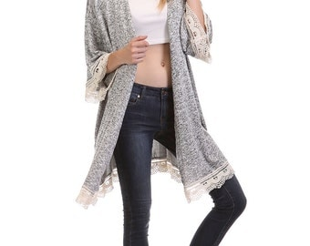 J2904C- Kimono Sleeve Lace Trimmed Long Cardigan (Made in USA)