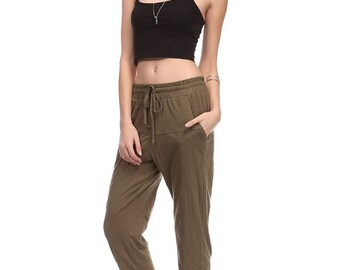CS37100 100% Cotton Slub String Pants