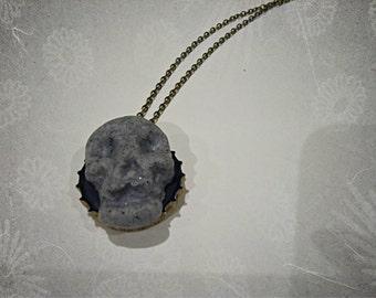 Skull bottle cap necklace