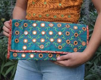 Handmade teal mirrored clutch bag