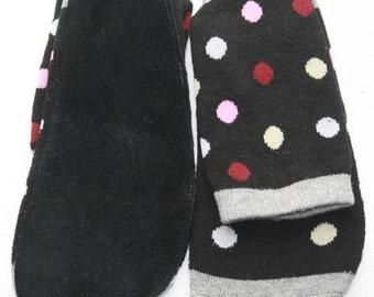 Free Shipping Brand New Woman Fashion Leather Bottom Sweater Socks L01-black-3(US size#6-7)