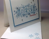 Merry Christmas card, snowflakes, simple holiday card, Jenni's Crafty Creations by Jenni Weighall
