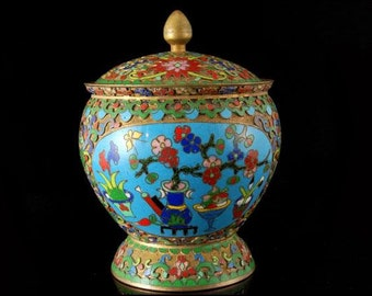 Antique Chinese Champleve Cloisonne Covered Jar