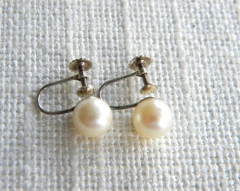vintage 9ct GOLD earrings with cultured pearls ~inA945