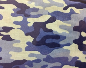 Blue camo fabric - camo fabric -  fabric - material - sewing -supply notion -