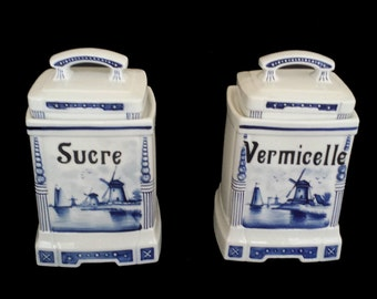 St. Ghislain, Belgium 2691: 2 gorgeous ceramic kitchen jars from the 1930's, Delft blue style