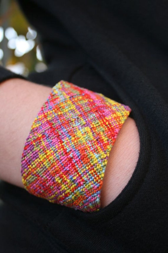 Multicolour, 100% cotton, hand-knitted, ethnic, boho, statement bracelet, ready to wear