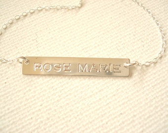 Sterling silver Bar Necklace...Personalized Engraved Name plate bar jewelry, Sorority gift, monogram, bridesmaid gift