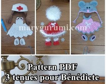 Crochet Pattern, pattern, tutorial, Amigurumi, dolls, 3 outfits for dolls Bénédicte (Pack 3)