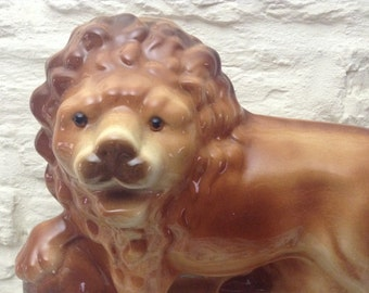 Antique Mantle Piece Lion With Glass Eyes/ Large And Superb/Reduced !!
