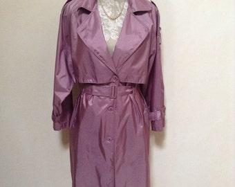 Vintage 1980s Trench coat, Dusky Pink Satin/ Size 12/ Excellent