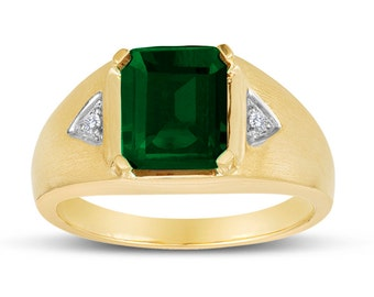 Men's 10x8 Octagon Emerald Ring With Genuine Diamonds In Sterling Silver