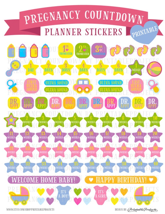Countdown to pregnancy stickers, Pregnancy Planner ...