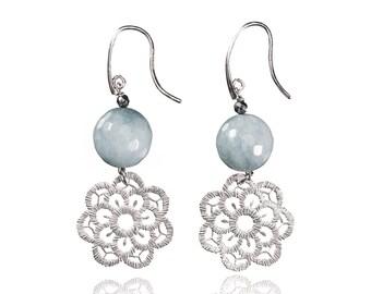 Jade earrings and silver Macrame