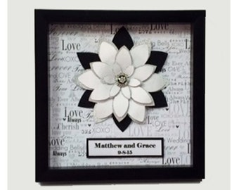 Wedding Gift, Paper Flower Art, Personalized Wedding Gift, Personalized Gift, Wedding home decor, wedding decor, Framed Paper Flowr